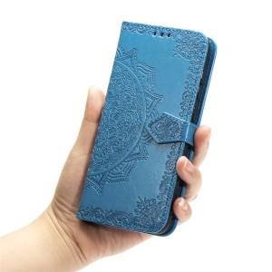 Чехол портмоне подставка текстура Узоры на силиконовой основе с отсеком для карт на дизайнерской магнитной защелке для Samsung Galaxy A20/A30  Синий