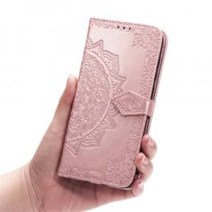 Чехол портмоне подставка текстура Узоры на силиконовой основе с отсеком для карт на дизайнерской магнитной защелке для Samsung Galaxy A20/A30  Розовый