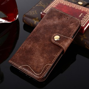 Винтажный чехол портмоне подставка на силиконовой основе с отсеком для карт на дизайнерской магнитной защелке для Samsung Galaxy A20/A30  Коричневый