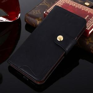Винтажный чехол портмоне подставка на силиконовой основе с отсеком для карт на дизайнерской магнитной защелке для Samsung Galaxy A20/A30  Черный