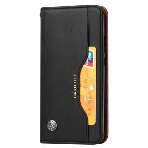 Чехол флип подставка на силиконовой основе с внешним и внутренним отсеком для карт для Samsung Galaxy A20/A30  Черный