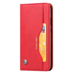 Чехол флип подставка на силиконовой основе с внешним и внутренним отсеком для карт для Samsung Galaxy A20/A30  Красный
