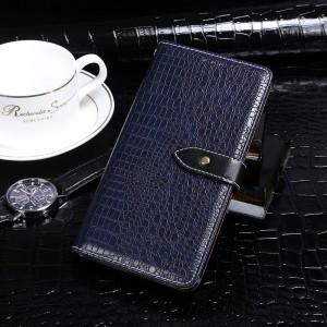 Чехол портмоне подставка текстура Крокодил на силиконовой основе с отсеком для карт на дизайнерской магнитной защелке для Samsung Galaxy A20/A30  Синий