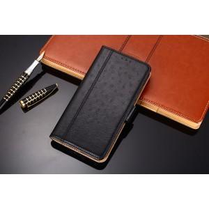 Чехол портмоне подставка текстура кожа Страуса на силиконовой основе с отсеком для карт на магнитной защелке для Samsung Galaxy A50  Черный