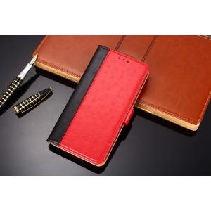 Чехол портмоне подставка текстура кожа Страуса на силиконовой основе с отсеком для карт на магнитной защелке для Samsung Galaxy A50  Красный