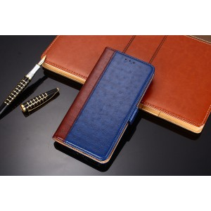 Чехол портмоне подставка текстура кожа Страуса на силиконовой основе с отсеком для карт на магнитной защелке для Samsung Galaxy A50  Синий