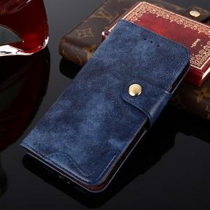 Винтажный чехол портмоне подставка на силиконовой основе с отсеком для карт на дизайнерской магнитной защелке для Samsung Galaxy A50  Синий