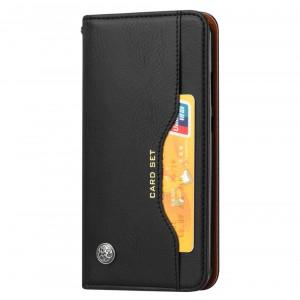 Чехол флип подставка на силиконовой основе с внешним и внутренним отсеком для карт для Samsung Galaxy A50  Черный