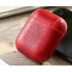Пластиковый чехол с текстурным покрытием Кожа на карабине для Apple AirPods Красный