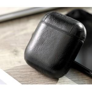 Пластиковый чехол с текстурным покрытием Кожа на карабине для Apple AirPods Черный