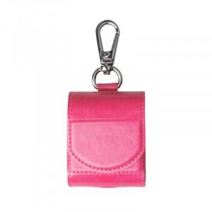 Глянцевый кожаный чехол с карабином на магнитной защелке для Apple AirPods  Розовый