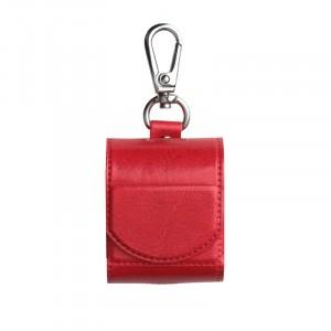 Глянцевый кожаный чехол с карабином на магнитной защелке для Apple AirPods  Красный
