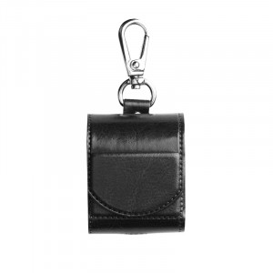Глянцевый кожаный чехол с карабином на магнитной защелке для Apple AirPods  Черный