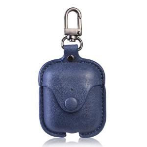 Кожаный чехол с карабином на кнопке для Apple AirPods  Синий