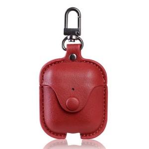 Кожаный чехол с карабином на кнопке для Apple AirPods  Красный