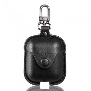Кожаный чехол с карабином на кнопке для Apple AirPods  Черный
