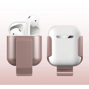 Пластиковый чехол с клипсой для Apple AirPods Розовый