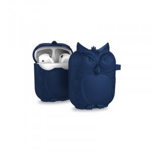 Противоударный силиконовый чехол дизайн Сова с ушком для ремешка для Apple AirPods Синий