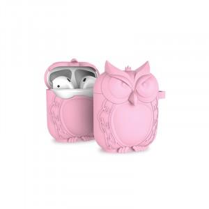 Противоударный силиконовый чехол дизайн Сова с ушком для ремешка для Apple AirPods Розовый