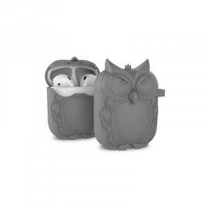Противоударный силиконовый чехол дизайн Сова с ушком для ремешка для Apple AirPods Серый