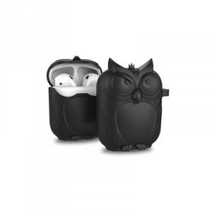 Противоударный силиконовый чехол дизайн Сова с ушком для ремешка для Apple AirPods Черный