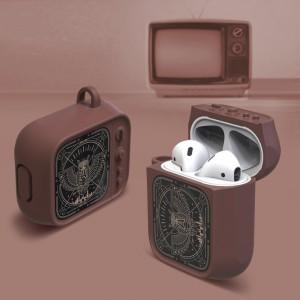 Противоударный силиконовый чехол дизайн ТВ с ушком для ремешка для Apple AirPods Коричневый