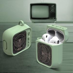 Противоударный силиконовый чехол дизайн ТВ с ушком для ремешка для Apple AirPods Зеленый