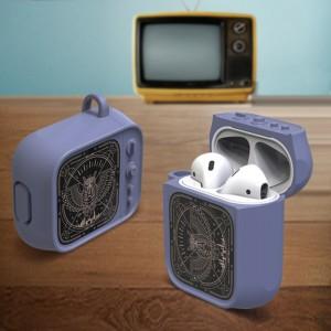 Противоударный силиконовый чехол дизайн ТВ с ушком для ремешка для Apple AirPods Синий