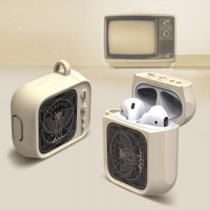 Противоударный силиконовый чехол дизайн ТВ с ушком для ремешка для Apple AirPods Бежевый