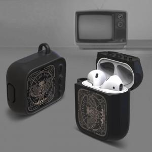 Противоударный силиконовый чехол дизайн ТВ с ушком для ремешка для Apple AirPods Черный
