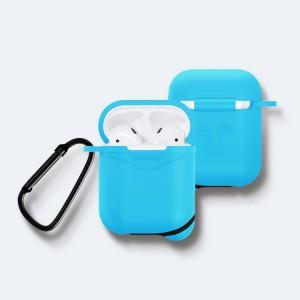 Противоударный водоотталкивающий силиконовый чехол с карабином для Apple AirPods Голубой