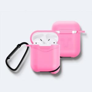 Противоударный водоотталкивающий силиконовый чехол с карабином для Apple AirPods Розовый