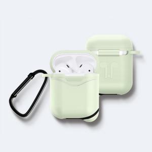 Противоударный водоотталкивающий силиконовый чехол с карабином для Apple AirPods Зеленый
