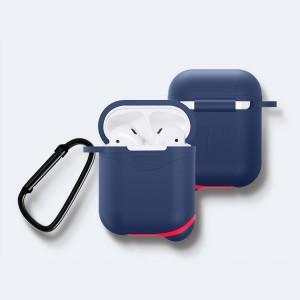 Противоударный водоотталкивающий силиконовый чехол с карабином для Apple AirPods Синий