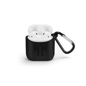 Силиконовый чехол с металлическим карабином для Apple AirPods Черный