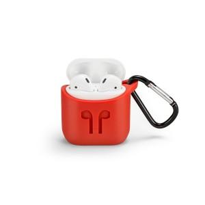 Силиконовый чехол с металлическим карабином для Apple AirPods Красный