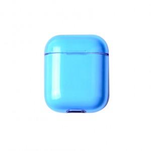 Тонкий пластиковый глянцевый полупрозрачный чехол для Apple AirPods Синий
