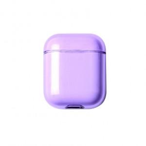 Тонкий пластиковый глянцевый полупрозрачный чехол для Apple AirPods Фиолетовый