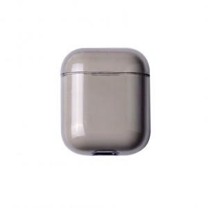 Тонкий пластиковый глянцевый полупрозрачный чехол для Apple AirPods Серый