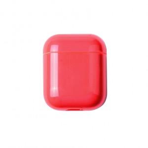 Тонкий пластиковый глянцевый полупрозрачный чехол для Apple AirPods Красный