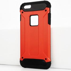 Двухкомпонентный силиконовый матовый непрозрачный чехол с поликарбонатными бампером и крышкой для Iphone 6 Plus/6s Plus Красный