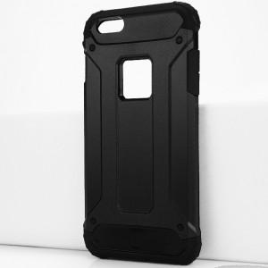Двухкомпонентный силиконовый матовый непрозрачный чехол с поликарбонатными бампером и крышкой для Iphone 6 Plus/6s Plus Черный