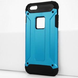 Двухкомпонентный силиконовый матовый непрозрачный чехол с поликарбонатными бампером и крышкой для Iphone 6 Plus/6s Plus Голубой