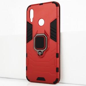 Двухкомпонентный силиконовый матовый непрозрачный чехол с поликарбонатными бампером и крышкой и встроенным кольцом-подставкой для Huawei P Smart (2019)/Honor 10 Lite Красный