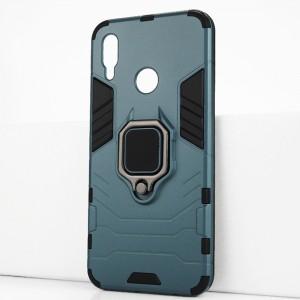 Двухкомпонентный силиконовый матовый непрозрачный чехол с поликарбонатными бампером и крышкой и встроенным кольцом-подставкой для Huawei P Smart (2019)/Honor 10 Lite Синий