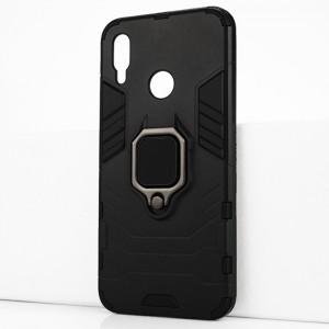 Двухкомпонентный силиконовый матовый непрозрачный чехол с поликарбонатными бампером и крышкой и встроенным кольцом-подставкой для Huawei P Smart (2019)/Honor 10 Lite Черный