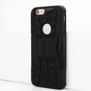 Противоударный двухкомпонентный силиконовый матовый непрозрачный чехол с поликарбонатными вставками экстрим защиты с встроенной ножкой-подставкой и текстурным покрытием Шина для Iphone 6/6s Черный