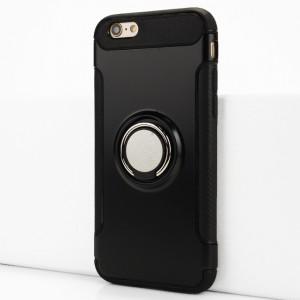 Двухкомпонентный силиконовый матовый непрозрачный чехол с поликарбонатными бампером и крышкой и встроенным кольцом-подставкой для Iphone 6/6s Черный
