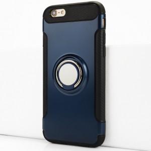 Двухкомпонентный силиконовый матовый непрозрачный чехол с поликарбонатными бампером и крышкой и встроенным кольцом-подставкой для Iphone 6/6s Синий
