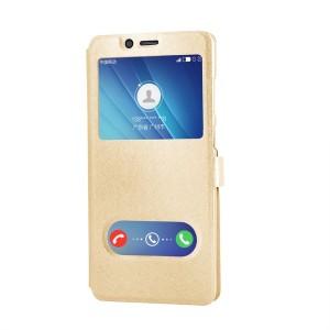 Чехол флип подставка текстура Золото на пластиковой основе с окном вызова и полоcой свайпа на магнитной защелке для Samsung Galaxy A30  Бежевый